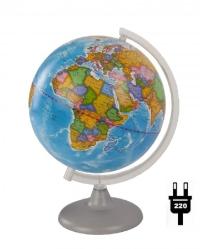 Глобус 250 мм политический с подсветкой на дуге и подставке из пластика 10164